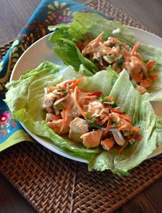 {YUM} Thai Chicken Lettuce Cups - use this sauce, subbing coconut aminos and ACV: http://kitchenconfidante.com/guest-post-cilantropist-zucchini-noodles-with-chicken-and-tangy-peanut-sauce-recipe