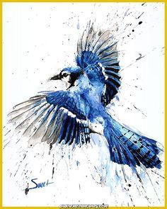 New bird flying art blue jay Ideas Red Bird Tattoos, Black Bird Tattoo, Tattoo Bird, Note Tattoo, Tattoo Animal, Feather Tattoos, Watercolor Print, Watercolor Paintings, Watercolor Tattoo