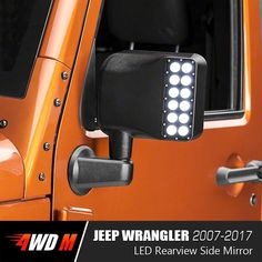 Clear Lens White Sidelight Rearview Side Mirror integrates driving function in white and turn signal function in yellow, providing functional peripheral illumin 2008 Jeep Wrangler, Jeep Wrangler Unlimited, Jeep Accessories, Jeep Wrangler Accessories, Jeep Camping, Jeep 4x4, Jeep Life, Rear View, Dream Cars