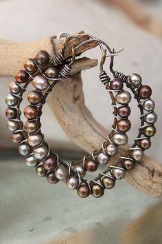 Handmade boho hoop earrings sterling and pearl lanterns