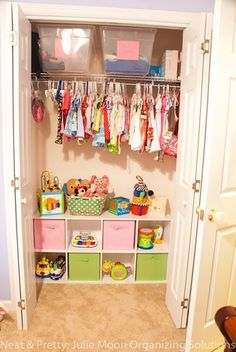 Cubbies and baskets instead of shelves.