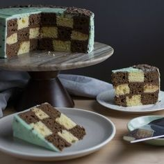 A gorgeous vanilla and chocolate checkered cake with a chocolate buttercream inside and a mint chocolate chip frosting on the outside. Chocolate Angel Food Cake, Chocolate Chip Frosting, Mint Chocolate Chips, Melting Chocolate, Checkered Cake, Lemon Curd Cake, Checkerboard Cake, Two Layer Cakes, Cake Flour