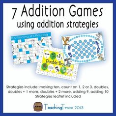 Addition board games to reinforce simple addition strategies to 18.   This pack of 7 addition games includes:  Rainbow Facts - addition facts to make a ten  Alien Antics - counting on 1, 2 or 3  Double Trouble - doubling numbers   Heading Home - doubles plus one more  Get Out! - doubles plus two more  It's Raining, It's Pouring - adding 9  Kitten Capers - adding 10