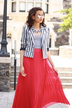 Brights & Stripes: Light Grey Striped Jacket, Hot Pink Pleated Maxi Skirt & Metallic Sunglasses
