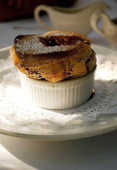 Chocolate Souffle at Le Vallauris.  It's served with a vanilla and a chocolate sauce.   cake