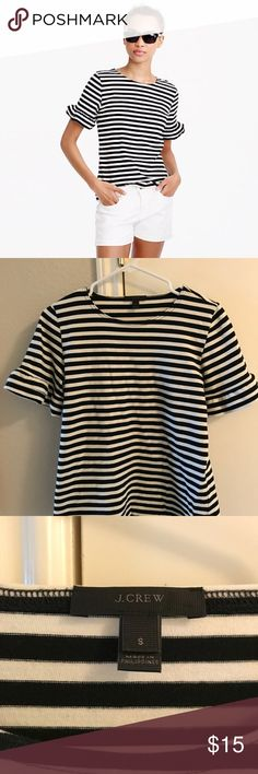 JCrew ruffle sleeve top Striped ruffle sleeve top. Never worn. J. Crew Tops Tees - Short Sleeve