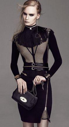 """(4)高光泽""""黄金时代""""瑞典模特Henrietta Hellberg身穿黑色与金_边城浪子 - 美丽鸟"""