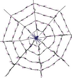 Spider Web Lights - Party CitySpider, spider, burning bright, giving party guests a fright! These unusual Spider Web Lights feature a string of 100 purple lights, all arranged in four concentric rings around a glowing spider, lying in wait for trick-or-treaters. The long lasting mini bulbs remain cool to the touch, making the glowing spider web safe to use among other Halloween decorations, stretch spider webbing, and more. Spider Web Lights measure 5ft in diameter.