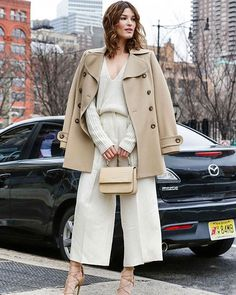 How do you think this #streetstyle? The #khaki #coat,v-neck #knit,#icecream color #culottes,I think match perfect,Very fit for this #autumn~ Post by #fashionoutfitboutique