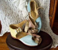Vintage Baby Shoes Pink Blue and Yellow Leather by cynthiasattic, $26.00