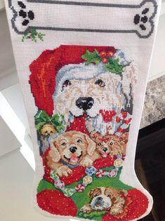 Christmas Cross Stitched Stocking- #p #dog theme. #christmasgifts #christmas #handmade #christmastree #christmasdecorations #giftideas #gifts #christmastime #santaclaus #christmaslights #christmasgiftideas #christmasmood #xmas #merrychristmas #christmasshopping #christmasiscoming #love #winter #christmasdecor #santa #christmasgift #christmaslove #birthdaygifts #shopping #xmastree #xmasgift #smallbusiness #christmascountdown #winterwonderland #bhfyp
