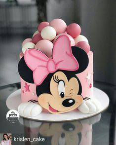 Minni Mouse Cake, Bolo Da Minnie Mouse, Mickey And Minnie Cake, Bolo Mickey, Mickey Cakes, Minnie Mouse Cake Design, Mini Mouse Birthday Cake, Baby First Birthday Cake, Cute Birthday Cakes