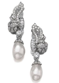 CHAUMET | Natural pearl and diamond pendent earrings. Signed. (Sotheby's)