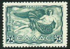 *GREECE ~ Here we have Zephyrus. This is the west wind, bringer of light spring + early summer breezes. The young man carries spring flowers with him. Love Stamps, Light Spring, Cool Posters, Mail Art, Stamp Collecting, Postage Stamps, Art Forms, Greece, Poster Prints