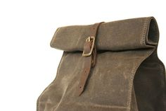 Image of Brown Waxed Canvas Lunch Bag