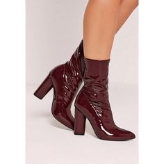 Missguided Patent Mid Calf Sock Boots ($68) ❤ liked on Polyvore featuring shoes, boots, red, missguided boots, mid calf boots, pointed-toe boots, patent leather boots and mid calf length boots