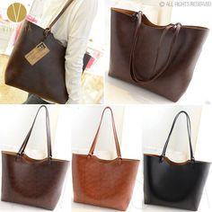 VINTAGE 2-WAY LARGE SHOPPER TOTE BAG Women's Faux Leather Simple Casual Handbag #VIVIESTA #TotesShoppers