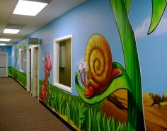 """Worlds of Wow - this theme might be named """"Honey, I blew up the critters!"""", as huge, friendly insects and animals adorn the halls at South Plains Church's kids building in Levelland, TX."""