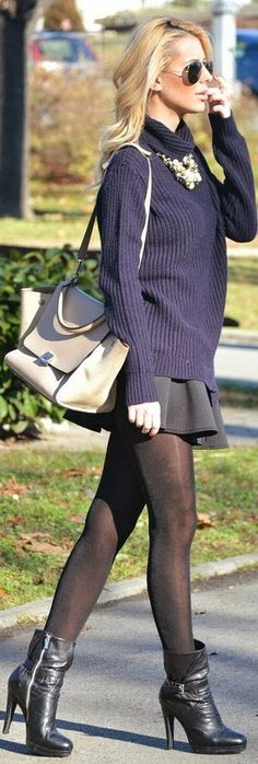 Navy colour Sweater Shirt , Black Mini Skirt And Black Leggings With black Booties Awesome