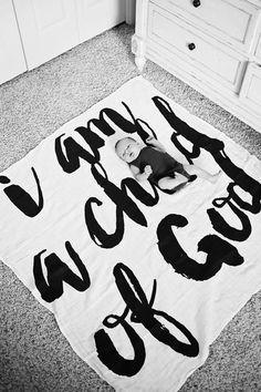 Organic Cotton Muslin Swaddle Blanket - I am a child of God