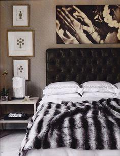 Greige Design leather headboard chinchilla fur throw
