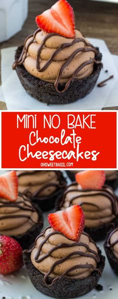 These no bake mini chocolate cheesecakes are smooth and creamy with a crunchy Oreo cookie crust. Perfect for Valentine's, or whenever you're looking for an easy chocolate cheesecake recipe. via @ohsweetbasil