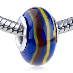 Pugster Murano Glass Bead Deep Red And Yellow Spiral Line Slim Fit Pandora Bead Charm Bracelet Pugster. $12.49. Note: Snake chain is not included. Weight (gram): 2.05. Color: blue, deep red, yellow. Size (mm): 8.8*14.33*14.33. Metal: lampwork murano glass