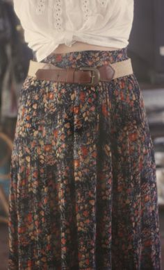 Gypsy inspiration,  floral skirt with brown leather belt.