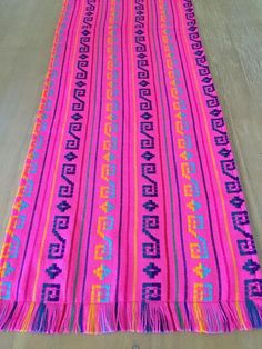 Mexican Woven Table Runner Embroidered Pink - MesaChic - 1