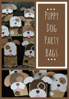Take your brown lunch sacks and turn them into puppy party. Take your brown lunch sacks and turn them into puppy party treat bags! Dog Themed Parties, Puppy Birthday Parties, Puppy Party, Dog Birthday, Birthday Party Themes, Birthday Ideas, Party Animals, Animal Party, Puppy Crafts