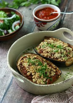Paleo Stuffed Eggplant {with Ground Beef} I think I may make this with sausage since that's what I have in the fridge!