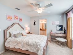 This kids room is perfectly themed for the little dancer in your life! Pastel hues with pops of pink and a few pieces of wall art really bring everything together. Highland Homes' Merlot model home in Gibsonton, Florida Gibsonton Florida, Creative Kids Rooms, Highland Homes, Bedroom Pictures, New House Plans, Model Homes, Home Builders, Kids Bedroom, Toddler Bed