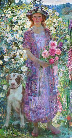 'July' oil painting by Olga Suvorova, Russian born 1966 Paintings I Love, Beautiful Paintings, Art Paintings, Art Amour, Art Et Illustration, Russian Art, Pics Art, Female Art, Painting & Drawing