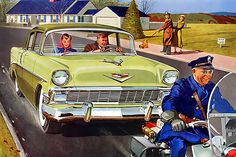 1956-Chevrolet... pregnant lady on board!; Vintage car ad.