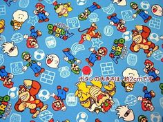 SUPER Mario fabric light Blue colour one yard cotton 100%