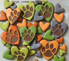 Paw print cookies~ By TheCookieArchitect, Orange, green, blue