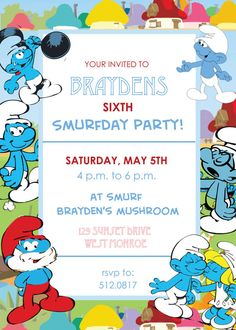 Smurfs Invitation Printable Smurf Birthday Party Invitations With
