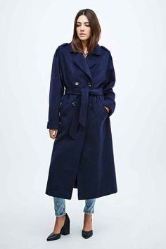 Light Before Dark Long Belted Trench Coat in Navy