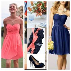 Another palette coral and navy blue. I like the coral dress for brides maids color but with navy blue sash.