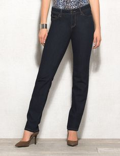 A brand new fit that flatters your curves; this super-soft curvy style gives you the coverage and comfort you're looking for while keeping your legs looking long and lean. With a soft, comfy fabric and a hint of stretch, these must-have jeans are sure to become your favorite pair of straight-legs. Mid-rise; slightly fitted through the hip and thigh. Imported.