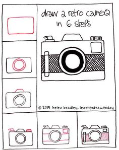 Draw a retro camera step by step