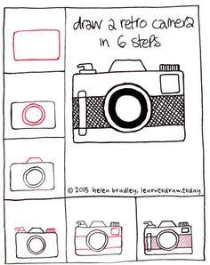 Draw a retro camera step by step