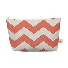"""Kess InHouse Everything Bag, Tapered Pouch, Ann Barnes """"Vintage Coral"""" Orange Chevron, 8.5 x 4 Inches"""