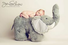 Baby with stuffed animal - great way to show growth progress!