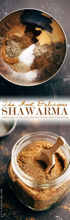 [CasaGiardino] ♛ Most Delicious Homemade Shawarma Seasoning - an all purpose shawarma seasoning for chicken, beef, or roasted chickpeas! Make a big batch of this stuff and use it for things like shawarma bowls or wraps! Homemade Spices, Homemade Seasonings, Spice Jars, Spice Mixes, Spice Blends, Seasoning Mixes, Chicken Seasoning, Seasoning Recipe, Lebanese Recipes