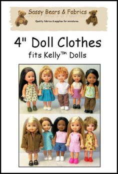 "4"" Doll Clothes Pattern Fits Kelly and Puki Dolls 