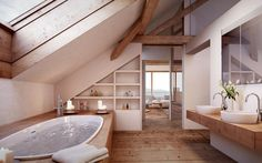 Attic Bathroom: Rustic Bathroom by Mann Architect .- Attic Bathroom: Rustikales Badezimmer von von Mann Architektur GmbH Attic Bathroom: Rustic Bathroom by von Mann Architektur GmbH - Attic Renovation, Attic Remodel, Sweet Home, Slanted Ceiling, Attic Bathroom, Bathroom Ideas, Skylight Bathroom, Bathroom Designs, Master Bathroom