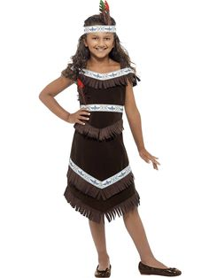 halloween costumes ideas smiffys childrens native american indian girl costume dress and headband ages size medium color brown 41096 details