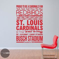 St. Louis Cardinals Baseball Sports Subway Art by WallSpiceDecals
