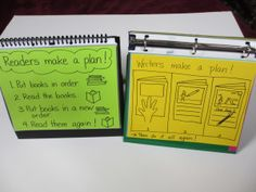 Table charts for Reading and Writing can be made using notebooks or file folders. Each table group can have their own so it is right in front of them for easier access and reminders of what they need.